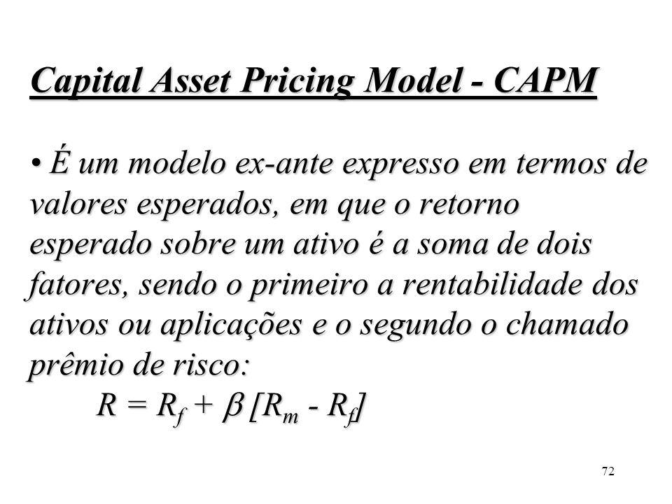 Capital Asset Pricing Model - CAPM • É um modelo ex-ante expresso em termos de valores esperados, em que o retorno esperado sobre um ativo é a soma de dois fatores, sendo o primeiro a rentabilidade dos ativos ou aplicações e o segundo o chamado prêmio de risco: R = Rf +  [Rm - Rf]